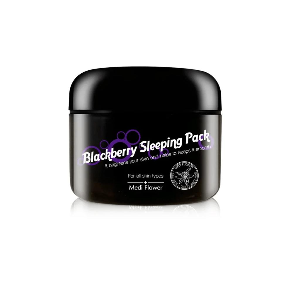 Blackberry Sleeping Pack, Mediflower, выравнивающая ночная маска-пуддинг с ежевикой. Корейская ночная маска, купить в Hedeo